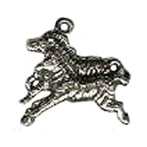 Sterling Silver two galloping zebras charm/pendant.