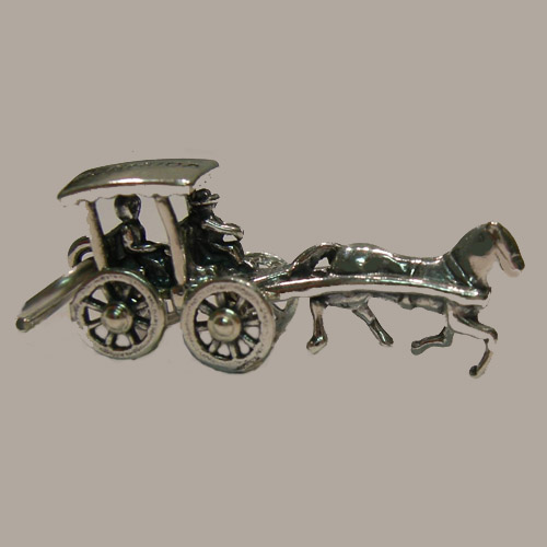 Sterling Silver carriage and horse charm/pendant