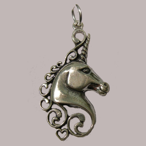 Sterling Silver open unicorn head pendant
