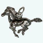 Sterling Silver 3 D galloping horse charm/pendant