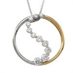 14 kt.y.g.w.g. diamond circle necklace