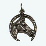 Sterling Silver horsehead in horseshoe charm/pendant
