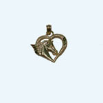 14 kt.y.g. horsehead in heart pendant