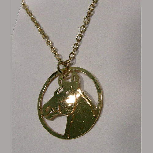 14 kt.y.g. plated Quarter Horse head necklace