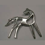 Sterling Silver abstract horse brooch