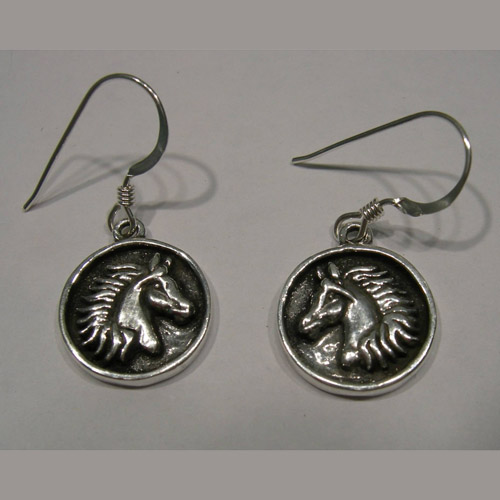 Sterling Silver round horsehead dangle earrings