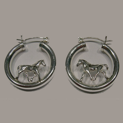 Sterling Silver hoop earrings with a trotting horse inside hoop