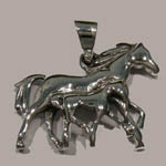 Sterling Silver trotting mare and foal charm/pendant