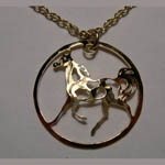 14 kt.y.g. plated prancing Pinto necklace