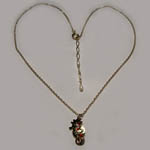 14 kt.y.g. plated seahorse and crystal full necklace