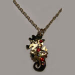 14 kt.y.g. plated seahorse and crystal necklace