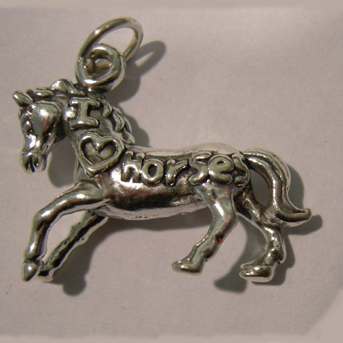 Sterling Silver I love Horses trotting horse charm/pendant