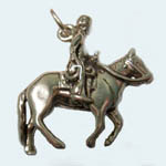 Sterling Silver western rider and horse charm/pendant
