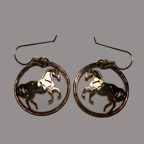 14 kt.y.g. plated Dressage Horse inside circle earrings