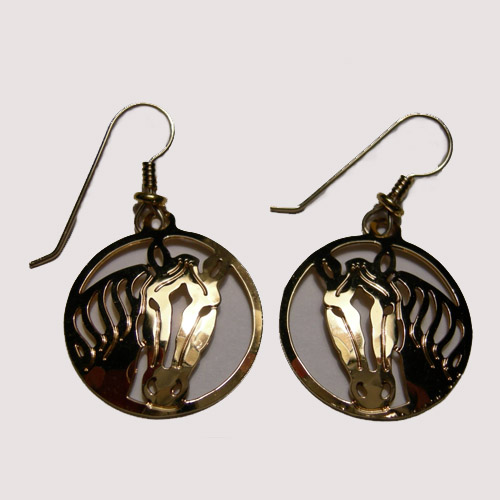 14 kt.y.g. plated horsehead with blaze inside circle earrings