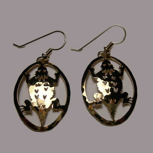 14 kt.y.g. plated Horned Toad in circle earrings