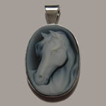 Sterling Silver bezel set Agate cameo pendant