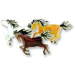 Enamel three galloping horses brooch