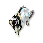 Enamel two prancing horses brooch