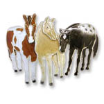 Enamel three standing horses brooch