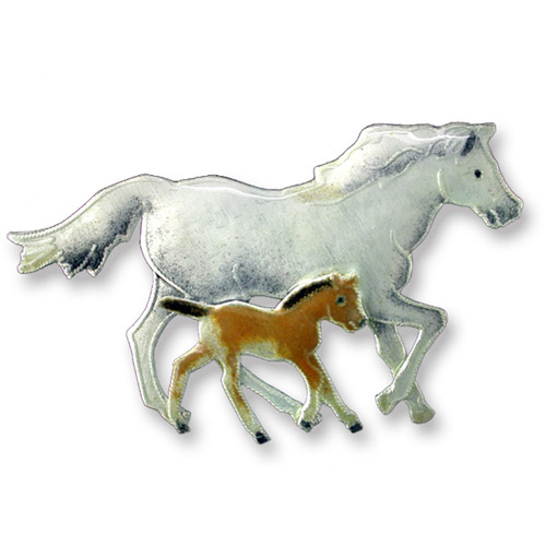Enamel trotting mare and foal brooch