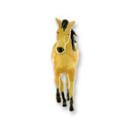 Enamel walking buckskin horse brooch
