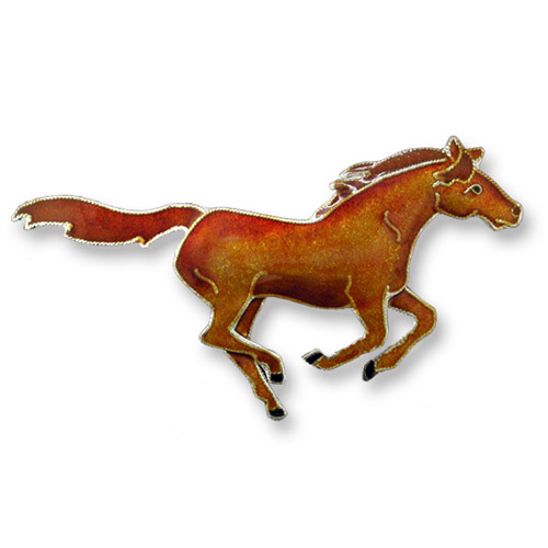 Enamel galloping chestnut horse brooch