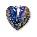 Enamel horsehead heart shaped brooch