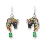 Enamel horseheads with aventurine quartz earrings