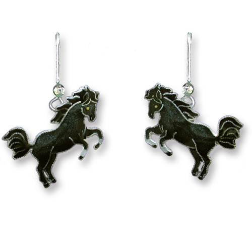 Enamel rearing black horse earrings