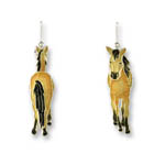 Enamel walking buckskin horse earrings