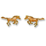 Enamel galloping chestnut horse earrings