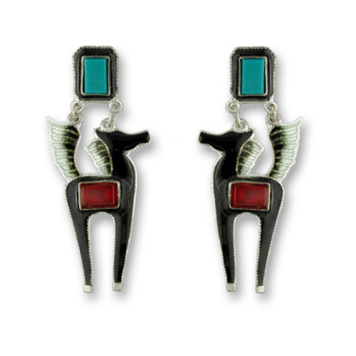 Enamel black horse and Carnelian and Turquoise earrings