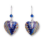 Enamel horsehead heart shaped earrings