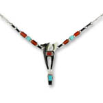 Enamel black horse and Carnelian and Turquoise necklace
