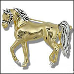 Sterling Silver and vermiel trotting horse brooch