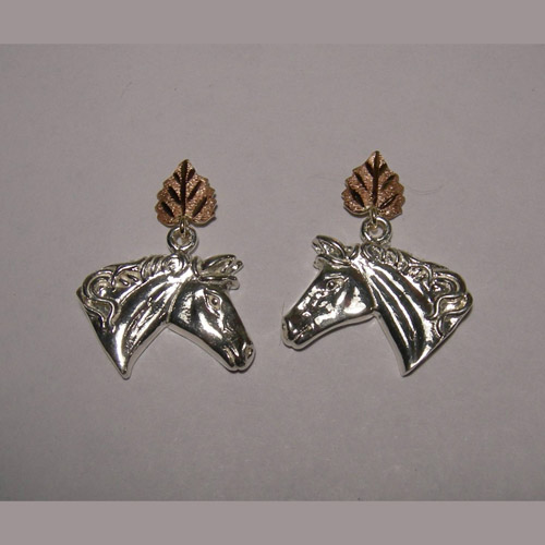 Landstrom's Black Hills Gold Sterling Silver horsehead earrings