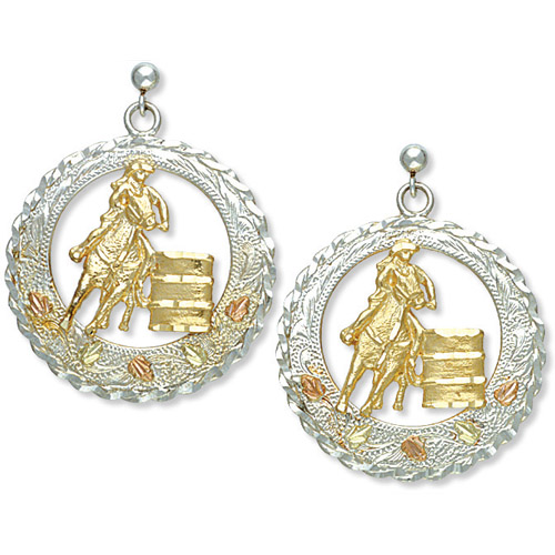 Landstrom's Black Hills Gold Sterling Silver barrel racer earrings