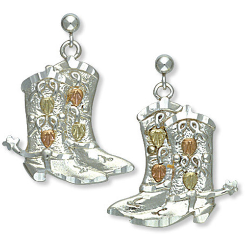 Landstrom's Black Hills Gold Sterling Silver cowboy boot earrings