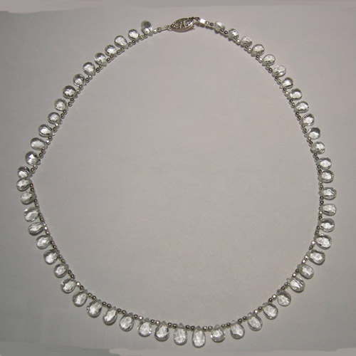 Sliver plated White Topaz bead necklace