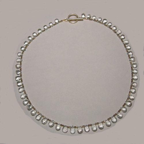 14 kt.y.g. plated White Topaz bead necklace