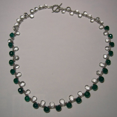 Sterling Silver White Topaz and Chrysoprase necklace
