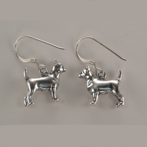 Sterling Silver Chihuahua dangle earrings