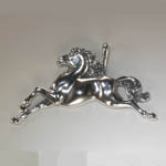close up of Sterling Silver fanciful galloping horse pendant