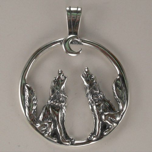 Sterling Silver wolves howling at moon pendant