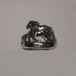 Sterling Silver galloping mare and foal ring