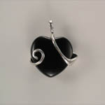back of Sterling Silver mare and foal Black Onyx pendant