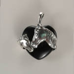 Sterling Silver mare and foal Black Onyx pendant