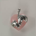 Sterling Silver mare and foal Rose Quartz pendant