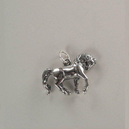 Sterling Silver 3 D prancing horse charm pendant